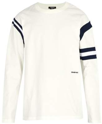 Calvin Klein Stripe Trim Cotton Crew Neck Sweatshirt - Mens - White