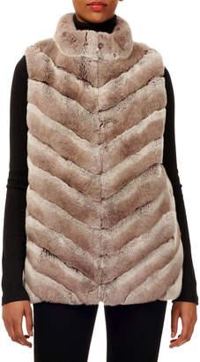 Gorski Chevron Rabbit Fur Zip-Front Vest w/ Knit Back