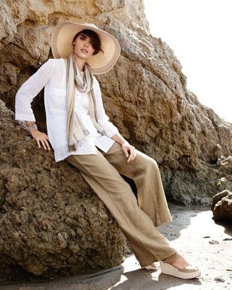 Eileen Fisher Linen Gauze Blouse, Petite