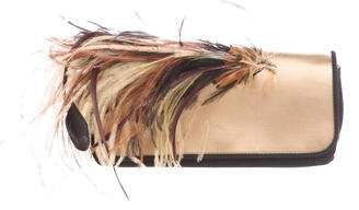 Dries Van Noten Suede Feather-Accented Clutch
