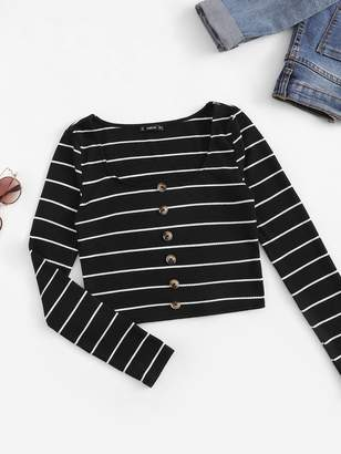 Shein Button Front Ribbed Knit Striped Tee