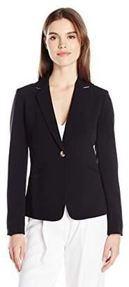 Tahari by Arthur S. Levine Women's Bi Stretch One Button Blazer with Contrast Collar