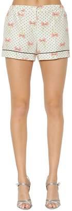 Miu Miu Bows Printed Crepe De Chine Silk Shorts