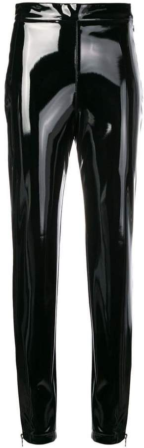 varnished slim trousers