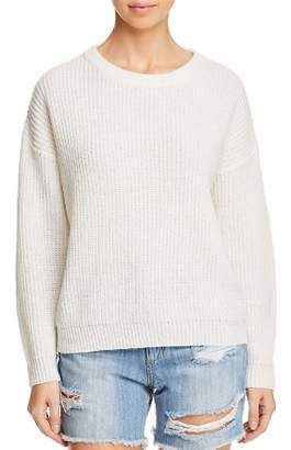 Lost and Wander Lost + Wander Blanco Waffle-Knit Back Cutout Sweater