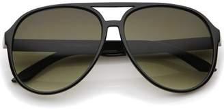 sunglass.la Retro Large Teardrop Shaped Lens Aviator Sunglasses 60mm (Black / Smoke Gradient)