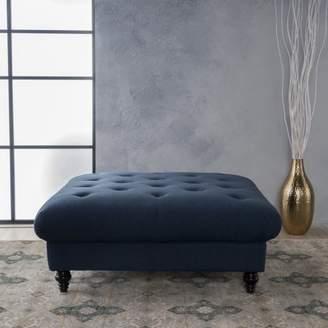 Noble House Germain Fabric Coffee Table Ottoman, Dark Blue