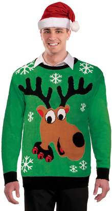 Forum Novelties Men's Plus Size Reindeer Novelty Christmas Sweater