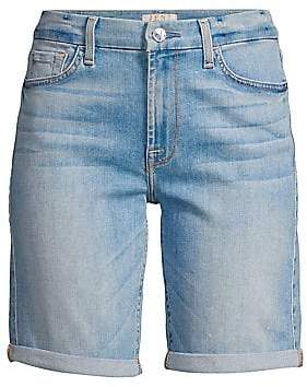 7 For All Mankind Jen7 by Women's Rolled-Cuff Denim Bermuda Shorts