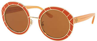 Tory Burch Round Double-T Metal Sunglasses