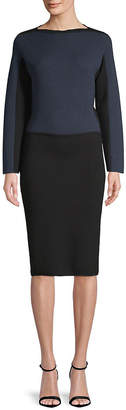 Alaia Color-Block Wool-Blend Midi Dress