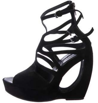 Ann Demeulemeester Suede Wedge Sandals Black Suede Wedge Sandals