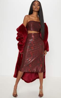 PrettyLittleThing Maroon Metallic Snake Print Floaty Midi Skirt