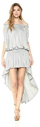 Norma Kamali Women's Short Sleeve Hi Low Peasant Dress