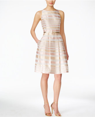 Jessica Howard Sleeveless Belted Striped Fit & Flare Dress $109 thestylecure.com