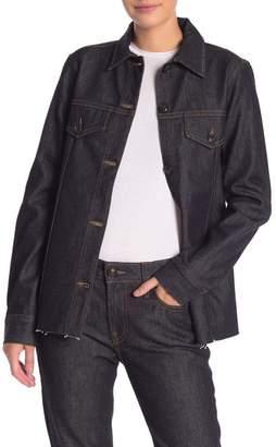 Frame Raw Hem Oversized Denim Jacket