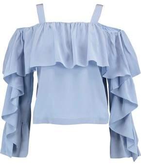 Robert Rodriguez Cold-Shoulder Ruffled Silk Top