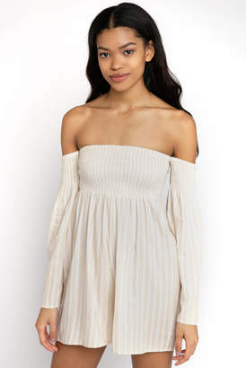 Billabong Off the Shoulder Smocked Stripe Romper