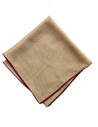 Drakes Drake's Beige Solid Wool and Silk Pocket Square with Shoestring Border