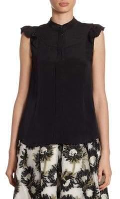 Erdem Orelia Button-Front Silk Blouse