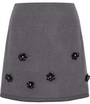 Raoul Embellished Felt Mini Skirt
