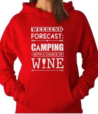 Camper TeeStars - Weekend Forecast Camping with Wine Funny Gift Women Hoodie