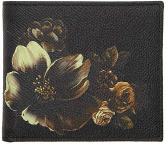 Dolce & Gabbana Black Flower Bifold Wallet