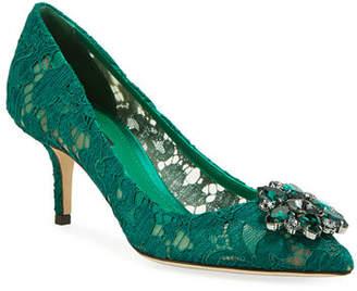 Dolce & Gabbana Jewel-Embellished Lace Pump