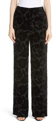 St. John Wide Leg Burnout Velvet Pants