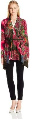 Desigual Women's Brasil Flat Knitted Thick Gauge Jacket, Glass Green, S