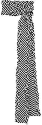 Magda Butrym Ruffle-trimmed Striped Silk-jacquard Scarf - Black