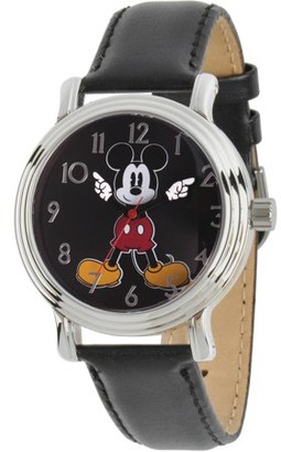 Disney Disney, Articulating Mickey Mouse Women's Silver Vintage Alloy Watch, Black Leather Strap
