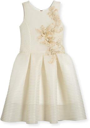 Parker Zoe Perforated Neoprene Stripe Dress, Gold, Size 7-16