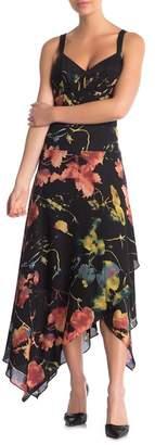 BCBGMAXAZRIA Sleeveless Asymmetrical Print Dress