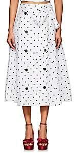 Lisa Marie Fernandez Women's Diana Polka Dot Linen Midi-Skirt-Wht.&blk.