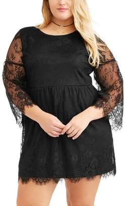 No Comment Junior's Plus Lace Bell Sleeve Dress with Tie Back