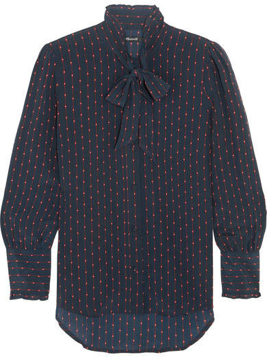 Madewell - Pussy-bow Printed Silk Crepe De Chine Blouse - Navy
