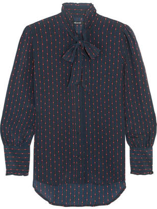 Madewell Pussy-bow Printed Silk Crepe De Chine Blouse - Navy