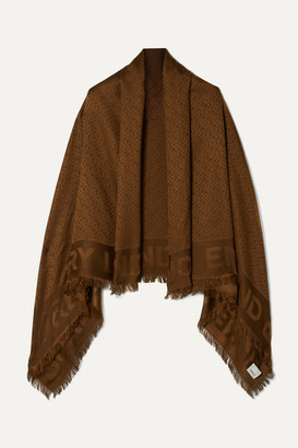 Burberry Fringed Silk And Wool-blend Jacquard Scarf - Chocolate