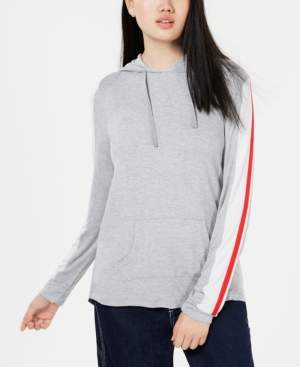 Hippie Rose Juniors' Sporty-Striped Pullover Hoodie
