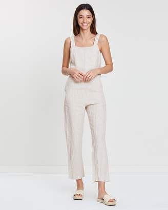 Wide Strap Linen Jumpsuit