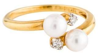 Ring 18K Pearl & Diamond Bypass