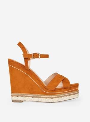 c00468e3804 Dorothy Perkins Womens Tan  Rosie  Cross Wedge Sandals