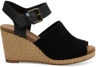 Toms Black Suede Leather Tropez Women's Wedges