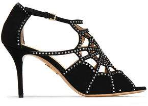 Charlotte Olympia Studded Cutout Suede Sandals
