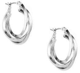Anne Klein Silvertone Three Ring Hoop Earrings