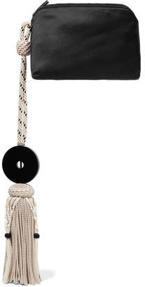 The Row Wristlet Tasseled Satin Clutch - Black