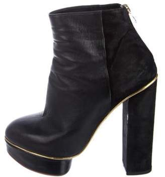 Charlotte Olympia Leather Ankle Boots Black Leather Ankle Boots