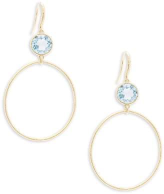 Judith Ripka Women's Bahama Blue Topaz & 18K Yellow Gold Hoop Drop Earrings