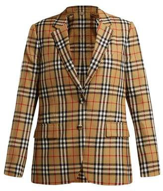 Burberry Snowdon Single Breasted Checked Wool Blazer - Womens - Multi